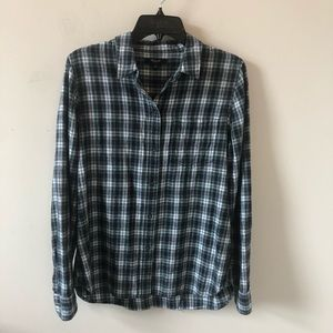 Madewell Green Plaid Boyfriend Shirt- Size L